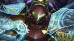 1girl armor artist_request cockpit epic glowing helmet holographic_interface looking_at_viewer metroid nintendo official_art power_armor power_suit samus_aran science_fiction solo visor