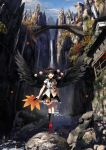 1girl architecture black_hair black_wings blue_sky bridge cloud east_asian_architecture feathered_wings geta hat highres kneehighs leaf_fan looking_at_viewer mountain neck_ribbon open_mouth outdoors pointy_ears pom_pom_(clothes) red_eyes ribbon rock scenery shameimaru_aya short_hair skirt sky smile solo suna_(s73d) tengu tengu-geta tokin_hat touhou tree water waterfall wings youkai_mountain