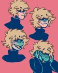 amphibian anthro beige_skin blonde_hair clothed clothing freckles green_scales hair heather_(verrest) human human_to_anthro male mammal messy_hair open_mouth salamander scales sequence simple_background smile sweater tongue tongue_out transformation turtleneck verrest