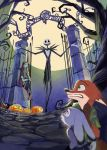 2018 animated_skeleton anthro bone canine clothed clothing crossover disney female fox fur green_eyes hair halloween hi_res holidays humanoid jack_skellington judy_hopps lagomorph long_hair male mammal nick_wilde rabbit red_hair sally_(tnbc) simple_background skeleton stitches the_nightmare_before_christmas undead yuzutamago zootopia