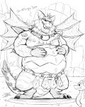 anthro belly big_belly drooling duo english_text frill horn jrbart licking licking_lips magnus_(spyro) male monochrome overweight saliva scalie spikes spyro spyro_reignited_trilogy spyro_the_dragon text tongue tongue_out video_games wings
