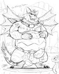 balls belly big_belly blush dripping drooling duo erection frill horn humanoid_penis jrbart licking licking_lips magnus_(spyro) male monochrome overweight penis saliva scalie spikes spyro spyro_reignited_trilogy spyro_the_dragon surpise sweat sweatdrop tongue tongue_out vein veiny_penis video_games wings