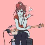 alternate_costume amplifier banjo blue_skin breasts casual cleavage hair_ornament half-closed_eyes holding holding_pipe instrument large_breasts onsen_tamago_(hs_egg) pink_background pipe red_eyes red_shirt shirt short_sleeves simple_background sitting smoking stitches thighhighs yuugiri_(zombieland_saga) zombie zombieland_saga