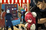 2girls 4boys berserk black_hair blue_footwear blue_hair chainsaw crossover devil_may_cry devil_may_cry_5 eyepatch flower guts hat highres ibaraki_kasen jacket kawashiro_nitori kira_yoshikage mechanical_arm metal_gear_(series) multiple_boys multiple_girls nero_(devil_may_cry) okema red_eyes red_hair scarf short_hair silver_hair touhou venom_snake