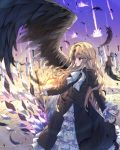 1girl absurdres bangs black_dress blush bow brown_feathers brown_wings dress electricity eyebrows_visible_through_hair feathered_wings feathers glowing hair_between_eyes highres holding holding_sword holding_weapon juliet_sleeves light_brown_hair long_hair long_sleeves looking_away looking_to_the_side original parted_lips profile puffy_sleeves red_eyes sleeves_past_wrists solo standing sword tandohark very_long_hair weapon white_bow wings