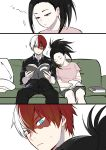 1boy 1girl black_hair blue_eyes boku_no_hero_academia book burn_scar comic commentary_request couch facial_scar grey_eyes head_on_another's_shoulder heterochromia highres loli_bushi long_hair multicolored_hair ponytail red_hair scar sitting sleeping sweatdrop todoroki_shouto two-tone_hair white_hair yaoyorozu_momo