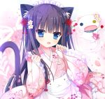 1girl :d animal animal_ear_fluff animal_ears apron black_hair blue_eyes blush cat cat_ears cat_girl cat_tail commentary_request frilled_apron frilled_skirt frilled_sleeves frills head_tilt heterochromia japanese_clothes kimono long_hair long_sleeves looking_at_viewer maid_headdress open_mouth original pinching_sleeves pink_kimono pink_skirt shiwasu_horio short_kimono skirt sleeves_past_wrists smile solo tail very_long_hair wa_maid waist_apron white_apron wide_sleeves yellow_eyes
