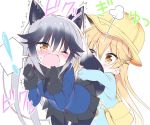 ! 2girls animal_ears bag black_gloves black_legwear black_neckwear black_shirt black_skirt blazer blonde_hair blue_jacket blue_shirt blush bow bowtie brown_eyes clenched_hands commentary_request ezo_red_fox_(kemono_friends) fox_ears fox_tail gloves hat hug hug_from_behind jacket kemono_friends kindergarten_uniform leaning_forward long_hair moaning multiple_girls necktie one_eye_closed open_mouth pantyhose pleated_skirt school_hat shirt silver_fox_(kemono_friends) silver_hair simple_background skirt spoken_exclamation_mark surprised tail tail_hug takahashi_tetsuya upper_body white_background wince yellow_hat