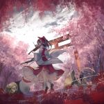 1girl bare_shoulders black_footwear black_hair bow cherry_blossoms commentary_request copyright_name cymbals detached_sleeves drum eyes_closed flower forest french_horn frilled_shirt_collar frills full_body grey_sky hair_bow hakurei_reimu half_updo highres holding holding_instrument instrument long_hair long_sleeves midriff nature outdoors petticoat red_bow red_flower red_skirt shoes skirt socks solo thkani torii touhou tree violin violin_bow white_legwear wide_sleeves