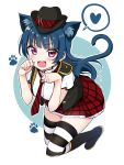 1girl :d animal_ear_fluff animal_ears bangs black_footwear black_hat black_vest blue_background blue_hair blush boots breasts cat_ears cat_girl cat_tail deadnooodles diagonal-striped_neckwear diagonal_stripes eyebrows_visible_through_hair fang full_body hands_up hat heart highres kemonomimi_mode knee_boots long_hair looking_at_viewer love_live! love_live!_sunshine!! medium_breasts mini_hat necktie open_mouth outline paw_pose pleated_skirt purple_eyes red_neckwear red_skirt shirt skirt smile solo spoken_heart striped striped_legwear striped_neckwear tail thighhighs thighhighs_under_boots tsushima_yoshiko two-tone_background v-shaped_eyebrows very_long_hair vest white_background white_outline white_shirt