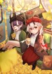2girls :d apple bag bangs basket black_footwear blush book boots bow braid brown_coat coat coffee_cup commentary_request cup disposable_cup eyebrows_visible_through_hair fang fate/grand_order fate_(series) food fruit ginkgo ginkgo_leaf glasses green_jacket grey_hair hair_between_eyes hair_bow handbag hat head_tilt highres holding holding_cup holding_food horned_headwear horns jacket kurono_kito legs_crossed long_hair multiple_girls open_clothes open_coat open_mouth parted_lips purple_eyes purple_hair red_apple red_bow red_hat red_skirt round_eyewear shirt short_hair shuten_douji_(fate/grand_order) sitting skirt smile socks sweater tomoe_gozen_(fate/grand_order) turtleneck turtleneck_sweater very_long_hair white_legwear white_shirt white_sweater window