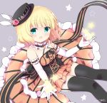 :d aqua_eyes bangs bare_shoulders belt_buckle black_bow black_hat black_legwear black_ribbon blonde_hair blush bow breasts buckle collar commentary_request cross-laced_clothes dress elbow_gloves eyebrows_visible_through_hair flower frilled_collar frills garter_straps gloves gochuumon_wa_usagi_desu_ka? grey_background halterneck hat hat_flower hat_ornament himarisu_(hida_mari) kirima_sharo layered_dress long_dress looking_at_viewer mini_hat mini_top_hat open_mouth orange_dress outstretched_hand ribbon rose short_hair signature simple_background sitting sleeveless sleeveless_dress small_breasts smile star striped thighhighs top_hat underbust white_gloves wristband
