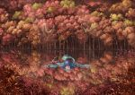 1girl autumn autumn_leaves bird blue_eyes blue_hair bubble bush commentary floating_hair forest head_fins lake looking_at_viewer mermaid monster_girl nagi_(xx001122) nature outdoors partially_submerged reflection scenery solo sunlight swimming tail touhou wakasagihime