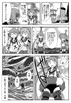 3girls ahoge akebono_(kantai_collection) apron badge bandaid bandaid_on_face bell enemy_lifebuoy_(kantai_collection) flower greyscale hair_bell hair_bobbles hair_flower hair_ornament hat headphones highres jingle_bell kantai_collection machinery monochrome multiple_girls neck_ribbon oboro_(kantai_collection) otoufu pleated_skirt remodel_(kantai_collection) ribbon rigging sazanami_(kantai_collection) school_uniform serafuku short_hair side_ponytail skirt skirt_flip smokestack standing standing_on_liquid straw_hat submarine_new_hime swimsuit swimsuit_under_clothes translation_request twintails ushio_(kantai_collection) w_arms