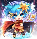 alice_vu ansatsu_kyoushitsu blue_eyes blue_hair boots cape chains chibi full_body hair_ornament highres magic_circle magical_boy outstretched_hand shiota_nagisa short_twintails star star_hair_ornament sun twintails watermark