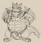 3_toes 4_fingers animal_genitalia anthro balls belly belt big_belly daftpatriot dragon flaccid front_view horn looking_at_viewer magnus_(spyro) male monochrome penis sheath smile solo spyro_reignited_trilogy spyro_the_dragon standing toes video_games