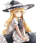 1girl absurdres apron black_skirt blonde_hair blush bow hands_on_lap hat hat_bow highres kani_nyan kirisame_marisa light_smile long_hair looking_at_viewer simple_background skirt touhou very_long_hair white_apron white_background white_bow witch_hat yellow_eyes