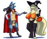 2018 absurd_res animal_genitalia anthro anthrofied armwear athletic balls big_breasts bill_(skybluefox) blonde_hair blue_fur bottomless breasts canine cape cladz cloak clothed clothing costume deadpliss digitigrade dipstick_tail duo elbow_gloves eyes_closed fan_character female fully_sheathed fur gloves hair halloween happy hat hi_res holidays huge_breasts jack-o'-lantern jewelry legwear loincloth lucario magic_user male mammal multi_tail multicolored_tail necklace ninetales nintendo open_mouth pokémon pokémon_(species) pokémorph ponytail red_eyes rose_(skybluefox) sheath shirt standing stockings topless tuft vampire video_games voluptuous witch witch_hat yellow_fur