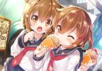 2girls anchor_symbol black_sailor_collar black_skirt brown_eyes brown_hair commentary_request folded_ponytail food food_in_mouth fruit hair_between_eyes hair_ornament hairclip highres holding holding_food ikazuchi_(kantai_collection) inazuma_(kantai_collection) kantai_collection long_hair long_sleeves mayuzaki_yuu multiple_girls neckerchief one_eye_closed open_mouth pleated_skirt red_neckwear sailor_collar school_uniform serafuku shirt short_hair skirt strawberry white_serafuku white_shirt