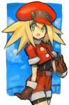 1girl belt bike_shorts bike_shorts_under_shorts blonde_hair blush border brown_gloves cabbie_hat cloud commentary_request cowboy_shot dakusuta gloves green_eyes hair_between_eyes hat highres long_hair looking_at_viewer open_mouth outside_border red_shorts rockman rockman_dash roll_caskett short_sleeves shorts sky smile solo white_border
