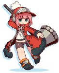 1girl arm_up bangs bike_shorts black_footwear blue_eyes blush boots brown_shorts character_request chibi coat commentary_request eyebrows_visible_through_hair full_body fur-trimmed_coat fur_trim hat holding holding_hammer last_period long_hair long_sleeves looking_at_viewer lowleg lowleg_shorts naga_u open_clothes open_coat parted_lips pink_hair red_coat red_hat ribbed_shirt shadow shirt short_shorts shorts sidelocks solo white_background white_shirt