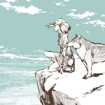 1girl cliff cloud cloudy_sky commentary_request crosshatching day elf from_side hand_up horizon limited_palette looking_afar lowres medium_hair nature original outdoors pointy_ears profile shading_eyes short_sleeves sky squatting