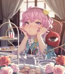 1girl :/ biscuit blush chin_rest collar commentary cup curtains eyebrows_visible_through_hair flower food frilled_collar frilled_sleeves frills hairband hands_on_own_face heart highres indoors komeiji_satori long_sleeves looking_at_viewer nose nose_blush pink_eyes pink_flower pink_hair pink_rose pout red_flower red_rose rose sho_shima short_hair sitting solo table tea_set teacup touhou white_flower white_rose wide_sleeves window