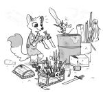 2018 anthro barrel bottle box canine clothed clothing dipstick_tail disney dual_wielding duo fan_character female fox fuel_(artist) gloves_(marking) greyscale holding_object holding_weapon knife mammal markings melody_micely_(zootopia) monochrome mouse multicolored_tail rodent rosie_(zootopia) socks_(marking) standing weapon zootopia