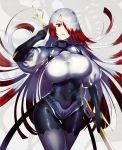 1girl arm_at_side arm_up asmodeus_(megido72) big_hair black_bodysuit black_gloves bodysuit breasts commentary_request covered_navel elbow_gloves gloves gluteal_fold gradient_hair grey_legwear grey_shirt head_tilt highres holding large_breasts megido72 multicolored_hair parted_lips puffy_short_sleeves puffy_sleeves red_hair shirt short_sleeves silver_hair solo standing tetsubuta thigh_gap thighhighs