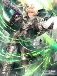 1boy ahoge armor bahamut_greed belt black_gloves blonde_hair cape copyright_name fantasy gauntlets gloves greaves green_eyes highres holding holding_sword holding_weapon male_focus official_art over_shoulder parted_lips ran_(artist) slashing standing sword watermark weapon web_address white_cape