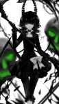 1girl :q artist_name bangs black_dress black_gloves black_hair black_rock_shooter bow chains chinese_commentary choker collarbone commentary_request dead_master demon_wings dress eyelashes feet_out_of_frame gloves green_eyes hand_up highres holding holding_scythe holding_weapon horns limited_palette long_hair long_sleeves looking_at_viewer pants scythe sheya short_dress signature simple_background skull smile solo spot_color standing tongue tongue_out wavy_hair weapon white_background wings
