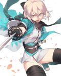 1girl black_bow black_legwear black_scarf bow fate_(series) grey_eyes hair_bow haori hinotta holding holding_sheath holding_sword holding_weapon japanese_clothes katana kimono koha-ace leg_up looking_at_viewer obi okita_souji_(fate) okita_souji_(fate)_(all) open_mouth sash scarf sheath short_hair short_kimono silver_hair simple_background sleeveless sleeveless_kimono solo sword thighhighs weapon white_background white_kimono