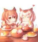 bangs bowl brown_eyes brown_hair butter chewing closed_eyes coat commentary_request cup curry drinking_glass eating eurasian_eagle_owl_(kemono_friends) eyebrows_visible_through_hair eyes_closed food food_on_face food_request fur_trim gloves hand_on_own_face heart holding holding_food holding_spoon ice ice_cube japari_bun kemono_friends long_sleeves looking_at_another matsuu_(akiomoi) medium_hair multicolored_hair multiple_girls napkin northern_white-faced_owl_(kemono_friends) pancake pitcher plate pom_pom_(clothes) pom_poms sitting spoon straw table white_background white_hair yellow_gloves