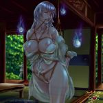 1girl architecture arms_behind_back bangs bare_shoulders bdsm biting bondage bound breasts breasts_outside collarbone commentary_request east_asian_architecture fusuma ghost hitodama indoors japanese_clothes kimono large_breasts long_hair navel nipples original pubic_hair pussy red_eyes rope see-through silver_hair sliding_doors spirit tied_up white_legwear yamatoshi