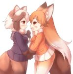 2girls animal_ear_fluff animal_ears blazer blush bow commentary_request extra_ears ezo_red_fox_(kemono_friends) fang fox_ears fox_tail gradient_hair hand_holding jacket kemono_friends long_hair matsuu_(akiomoi) multicolored_hair multiple_girls navy_blue_serafuku navy_blue_skirt open_mouth orange_hair orange_jacket pleated_skirt raccoon_ears raccoon_tail school_uniform serafuku short_hair skirt tail tanuki_(kemono_friends) white_background white_bow white_hair white_skirt yellow_eyes