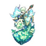 1boy aqua_eyes artist_request dragalia_lost flower grass green_hair looking_at_viewer lowen_(dragalia_lost) official_art open_mouth shoes short_hair sitting smile socks staff wide_sleeves winged_shoes wings