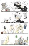 ! 4koma black_hairband blindfold blonde_hair comic dressing dwarf_(goblin_slayer) goblin_slayer goblin_slayer! hairband high_elf_archer_(goblin_slayer!) katana kuroduki_(pieat) lizard_priest(goblin_slayer) long_hair nier_(series) nier_automata pod_(nier_automata) priestess_(goblin_slayer!) short_hair silver_hair sword sword_maiden undressing watch weapon white_background wristwatch yorha_no._2_type_b yorha_no._9_type_s