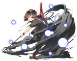 1girl asymmetrical_wings back_cutout black_dress black_hair black_legwear bow brown_footwear commentary_request danmaku dress full_body grin hasebe_yuusaku highres holding holding_weapon houjuu_nue leg_lift looking_at_viewer polearm red_bow red_eyes shoe_bow shoes short_dress short_hair short_sleeves simple_background smile solo standing standing_on_one_leg teeth thighhighs touhou trident weapon white_background wings wristband