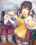 2girls apron black_hair blush bow bowtie breasts brown_eyes dress eating em_s eyebrows_visible_through_hair fang food grey_hair grey_legwear hair_over_one_eye hair_ribbon hamanami_(kantai_collection) highres kantai_collection large_breasts long_hair long_sleeves multicolored_hair multiple_girls naganami_(kantai_collection) open_mouth pantyhose pink_hair plate remodel_(kantai_collection) ribbon rice school_uniform shirt sleeveless sleeveless_dress spoon two-tone_hair wavy_hair white_shirt yellow_eyes