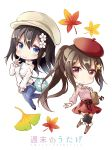 2girls autumn_leaves bag bag_charm bangs beret between_breasts black_footwear black_legwear black_ribbon blue_pants blush boots breasts brown_footwear brown_hair cabbie_hat charm_(object) chibi closed_mouth collared_shirt commentary_request denim eyebrows_visible_through_hair flower hair_between_eyes hair_flower hair_ornament hairclip hat highres index_finger_raised jeans knee_boots leaf long_hair long_sleeves looking_at_viewer maple_leaf medium_breasts multiple_girls original pants pink_shirt ponytail red_eyes red_hat red_skirt ribbon shiro_kuma_shake shirt shoulder_bag shoulder_cutout simple_background skirt sleeves_past_wrists small_breasts smile star star_hair_ornament strap_cleavage sweater thighhighs thighhighs_under_boots turtleneck turtleneck_sweater very_long_hair white_background white_flower white_hat white_sweater