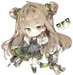 1girl ahoge bad_id bad_pixiv_id black_choker black_dress blush boots bow breasts brown_hair bullpup camouflage_jacket character_name chibi choker commentary_request double_bun dress full_body fur-trimmed_jacket fur_trim girls_frontline green_bow green_eyes green_footwear green_jacket green_legwear gun hair_bow head_tilt jacket kel-tec_rfb kotatu_(akaki01aoki00) long_hair long_sleeves looking_at_viewer object_namesake off_shoulder parted_lips puffy_long_sleeves puffy_sleeves rfb_(girls_frontline) rifle side_bun simple_background sleeveless sleeveless_dress small_breasts smile socks solo standing striped striped_legwear stuffed_animal stuffed_toy teddy_bear vertical-striped_legwear vertical_stripes very_long_hair weapon white_background