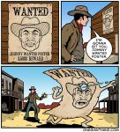animate_inanimate bullet comic cowboy cowboy_hat english_text gun gunshot handgun hat human humor mammal not_furry onegianthand pistol poster ranged_weapon reward speech_bubble text wanted_poster weapon