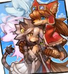 1boy 1girl animal_ears arm_around_shoulder bangs blanc_(solatorobo) blue_eyes blush border brown_gloves capelet cat_ears cat_girl cat_tail cloud dakusuta dog_ears earrings elh_melizee eyebrows_visible_through_hair facial_mark fur_trim furry gloves goggles goggles_on_head hair_between_eyes hand_on_another's_shoulder height_difference highres holding_hand jewelry long_hair nero_(solatorbo) outside_border red_capelet red_savarin short_hair smile solatorobo tail yellow_eyes