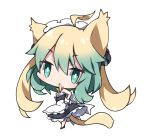 1girl :< ahoge alternate_costume animal_ears apron atalanta_(fate) bangs bare_shoulders black_dress black_footwear blonde_hair cat_ears cat_girl cat_tail chibi closed_mouth commentary_request dress enmaided eyebrows_visible_through_hair fate/apocrypha fate_(series) frilled_apron frilled_dress frills gradient_hair green_eyes green_hair hair_between_eyes head_tilt looking_at_viewer looking_to_the_side maid maid_headdress milkpanda multicolored_hair simple_background sleeveless sleeveless_dress solo standing tail waist_apron white_apron white_background wrist_cuffs