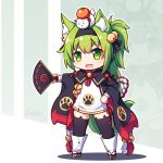 1girl :d animal_band_legwear animal_ear_fluff animal_ears azur_lane bangs bell black_hairband black_legwear black_ribbon blush boots cat_band_legwear cat_ears chibi commentary_request dress eyebrows_visible_through_hair fan fang flower_knot folding_fan full_body green_eyes green_hair hair_bell hair_between_eyes hair_ornament hair_ribbon hairband highres holding holding_fan isokaze_(azur_lane) jingle_bell langbazi long_hair long_sleeves on_head open_mouth ribbon short_dress signature smile solo standing thick_eyebrows thighhighs v-shaped_eyebrows very_long_hair white_dress white_footwear wide_sleeves zoom_layer