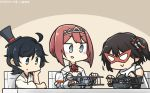 3girls ahoge aichi_e11a aircraft aircraft_request airplane ark_royal_(kantai_collection) bangs black_gloves black_hair blue_eyes blunt_bangs bob_cut brown_gloves chair check_commentary commentary_request cup dated drinking_glass elbow_gloves fingerless_gloves furisode gloves green_eyes hair_ornament hairband hakama hamu_koutarou hand_on_own_face hat highres japanese_clothes kantai_collection kimono long_sleeves mask matsukaze_(kantai_collection) meiji_schoolgirl_uniform mini_hat mini_top_hat multiple_girls partial_commentary red_hair remodel_(kantai_collection) scarf school_uniform sendai_(kantai_collection) serafuku short_hair swept_bangs swordfish_(airplane) table tiara top_hat toy_airplane tsurime two_side_up upper_body wavy_hair white_scarf wine_glass