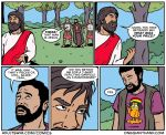 beard border cat clothing comic deity drugs english_text facial_hair feline garfield garfield_(series) human human_focus humor jesus_christ judas_iscariot male mammal marijuana melee_weapon onegianthand rastafarian religion roman shirt smoking speech_bubble sword t-shirt text tree url weapon white_border