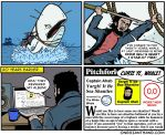 amputee beard beverage border captain_ahab cetacean coffee coffee_mug comic computer cup english_text facial_hair flag harpoon human humor laptop mammal marine melee_weapon moby_dick onegianthand pegleg pitchfork_(website) polearm prosthetic rope sea ship spear speech_bubble text url vehicle water weapon whale white_border