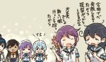 6+girls ahoge akebono_(kantai_collection) bell black_hair blue_hair brown_hair comic eyes_closed flower grin hair_bell hair_flower hair_ornament hands_on_hips hat i-400_(kantai_collection) kantai_collection long_hair multiple_girls neckerchief open_mouth otoufu ponytail purple_hair sado_(kantai_collection) sailor_hat school_uniform serafuku shirt short_sleeves sidelocks sleeveless sleeveless_shirt smile tan tearing_up tsushima_(kantai_collection) ushio_(kantai_collection) yahagi_(kantai_collection)