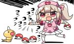 1girl :d apron bandage bandaged_arm bandages blush bow chibi collared_shirt creatures_(company) crossover fang game_freak gen_1_pokemon hair_bow hat heart holding holding_poke_ball kanikama light_brown_hair lowres natori_sana nintendo nurse_cap open_mouth pink_apron pink_bow pink_footwear pink_hat pleated_skirt poke_ball poke_ball_(generic) pokemon pokemon_(creature) red_eyes sana_channel shirt side_ponytail sidelocks skirt smile standing standing_on_one_leg sweat thighhighs translation_request virtual_youtuber weedle white_background white_legwear white_shirt white_skirt